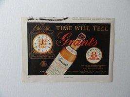 Grants Whiskey, 50's Print Ad. color Illustration, print ad (clock/time will ... - $13.85