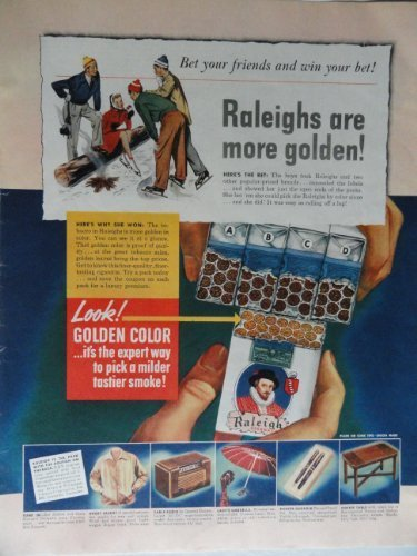"Primary image for Raleighs, 1942 Color Illustration,Print Ad. 10 1/2""x13 1/2""(ice skating/fire ..."