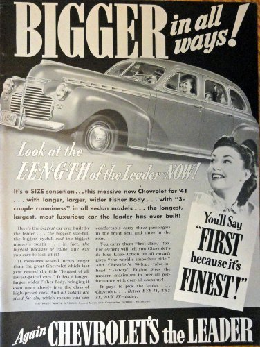 "Primary image for 1940 Chevrolet Car, Print advertisment. 40's B&W Illustration, 10 1/4"" x 13 1..."