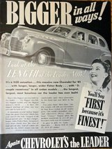 "1940 Chevrolet Car, Print advertisment. 40's B&W Illustration, 10 1/4"" x... - $12.86"