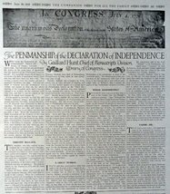 "The Penmanship of the Declaration of Independence,1916 B&W Illustration 10""x ... - $18.80"