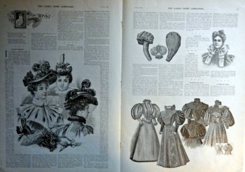 Fashion Page, 1896 the latest fashions, 2 full page centerfold B&W Illustrati... - $17.81