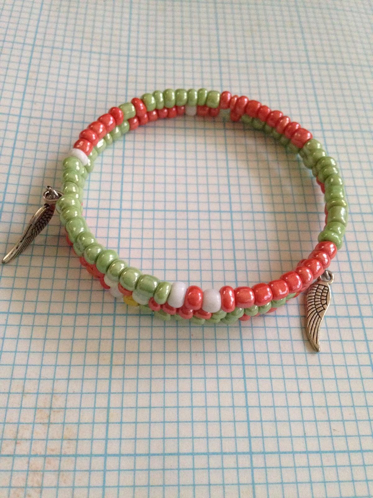 Ethnic Bracelet, Handmade, Beaded Wrap Bracelet, Sorority Jewelry