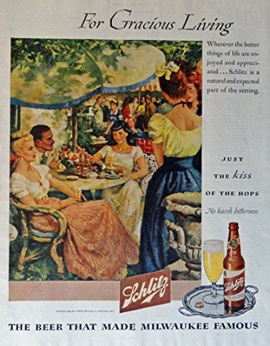 Schlitz Beer 40 39 S Print Ad Full Page Color Illustration