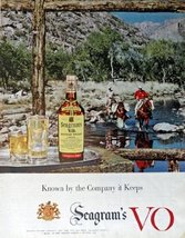 Seagram's V.O. Canadian Whisky, Print advertisment. 50's Color Illustration, ... - $12.86