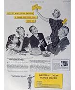Western Union Money Order, 40's Print ad. Color Illustration (birthday p... - $12.86