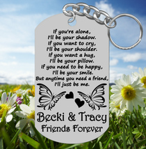 BEST FRIENDS Keychain Gift, Personalized FREE with Names. Long Quote - $9.95