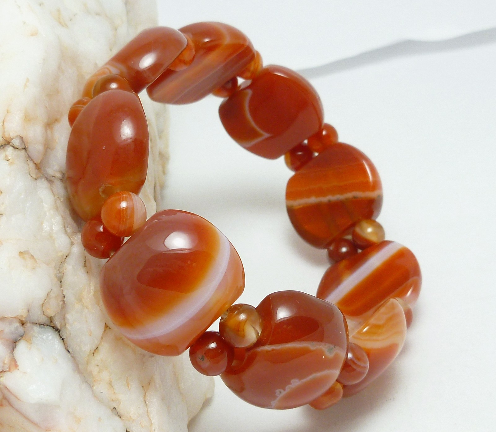 Red Orange Agate Gemstone Square Stretch Wide Bracelet 7 inch