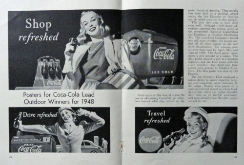 Coca Cola, 40's Print Ad. B&W Illustration (Posters for outdoor winners for 1... - $16.82