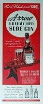 Arrow Kreemy Hed Sloe Gin, 40's Print Ad. Color Illustration (Judge Arrow wit... - $18.99