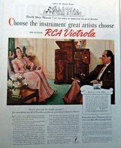 "RCA Victrola, 40's Full Page Color Illustration, 10 1/2"" x 13 1/2"" Print Ad. ... - $12.86"