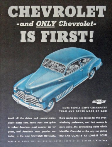 Primary image for 1948 Chevrolet, 40's Print Ad. Color Illustration (only chevrolet is first! b...