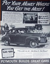 1940 Plymouth Car, 40's Print ad. Full Page B&W Illustration ($645 put y... - $12.86