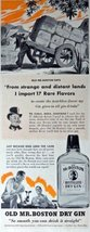 "Old Mr. Boston Dry Gin, Print advertisment. 40's Color Illustration, 5 1/2"" x... - $10.88"