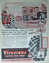 Firestone Tires, 40's Print Ad. Color Illustration (Mr. Extra Traction) Origi... - $13.85