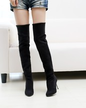 PB070 Sexy knee-high boots, 8 cm heel, pu suede leather, size 34-43, black - $58.80