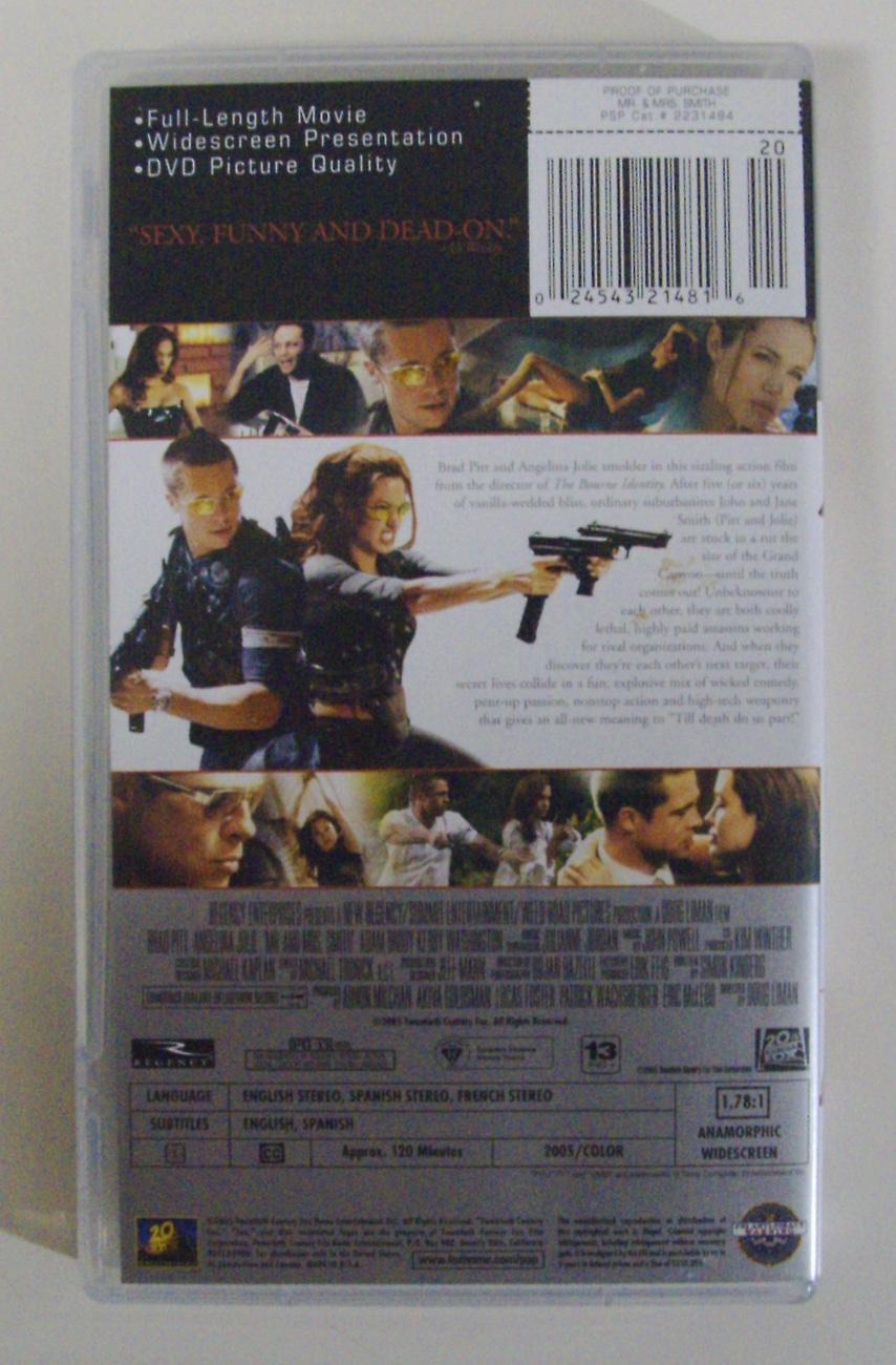 Mr. & Mrs. Smith UMD Video for the Sony PSP PlayStation Portable Brad Pitt