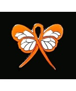 Melanoma Awareness Lapel Pin Orange Ribbon Butt... - $10.97