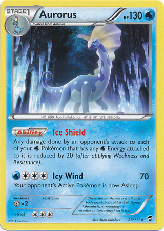 Aurorus 26/111 Rare Pokemon XY Furious Fists Card