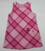 SPROCKETS GIRLS SIZE 4T JUMPER DRESS PINK PLAID FLORAL FLOWERS - $9.25