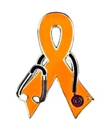 Melanoma Awareness Pin Orange Ribbon Black Stet... - $10.97