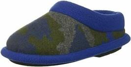 Dearfoams Kids Camo Fleece Clog Slipper 7-8 Ocean Blue NEW - $12.85