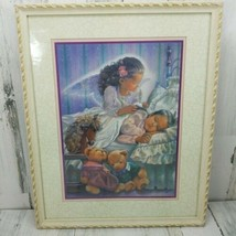 Home Interiors Guardian Angel Guarding Sleeping Child Framed Picture Wal... - $24.24