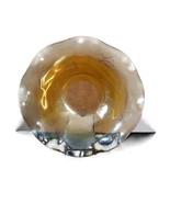Vintage Amber gold Carnival glass fluted bowl, 1950s, raised floral design - $15.75