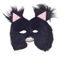 FURRY BLACK CAT 3/4 MASK with LATEX NOSE - $6.00