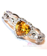 Beauty for Ashes® Canary Yellow Heart Simulated Diamand Bridal Cuff CZ B... - $155.00