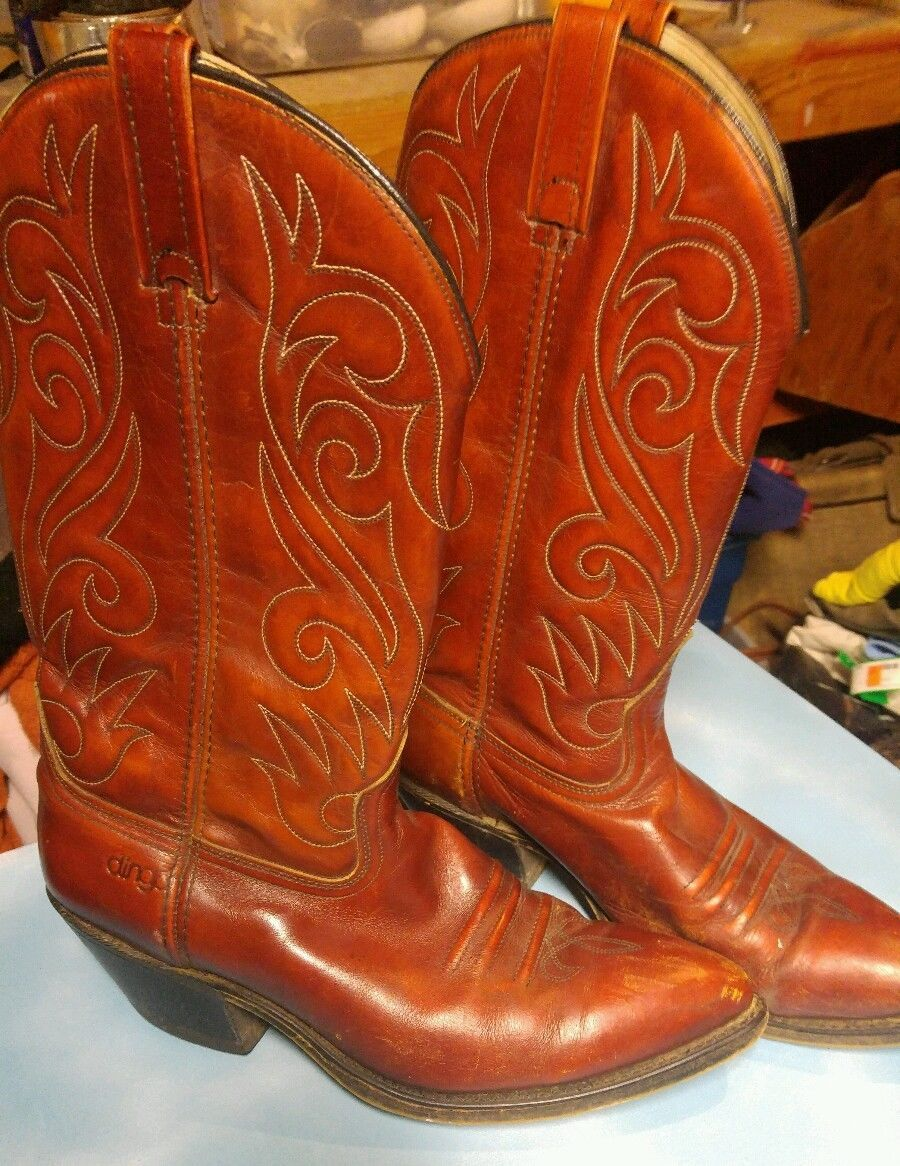 Vintage Hyer Cognac Brown Leather Cowboy Western Boots USA Made Mens Size 10.5D