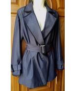 Womens ELLE Solid Trench Coat Navy-Dress Denim-Black Trim-$98 Textured B... - $59.37