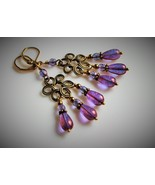Purple Glass Chandelier Earrings - $21.00