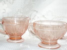 Depression Glass Pink Sugar and Creamer - $20.00