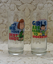2 Vintage Peanuts Character Juice Glasses, Peppermint Patty, Charlie Bro... - $10.50