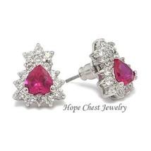 Silver Tone Heart Shape Ruby Red CZ Stud Earrings - July Birthstone - $19.49