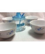 Tea Cup Set of 4  White Porcelain with Flowers Plus Free Tea Holder. - $7.99