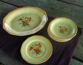 antique Ivory Salem china dishes, orange poppy ... - $6.00