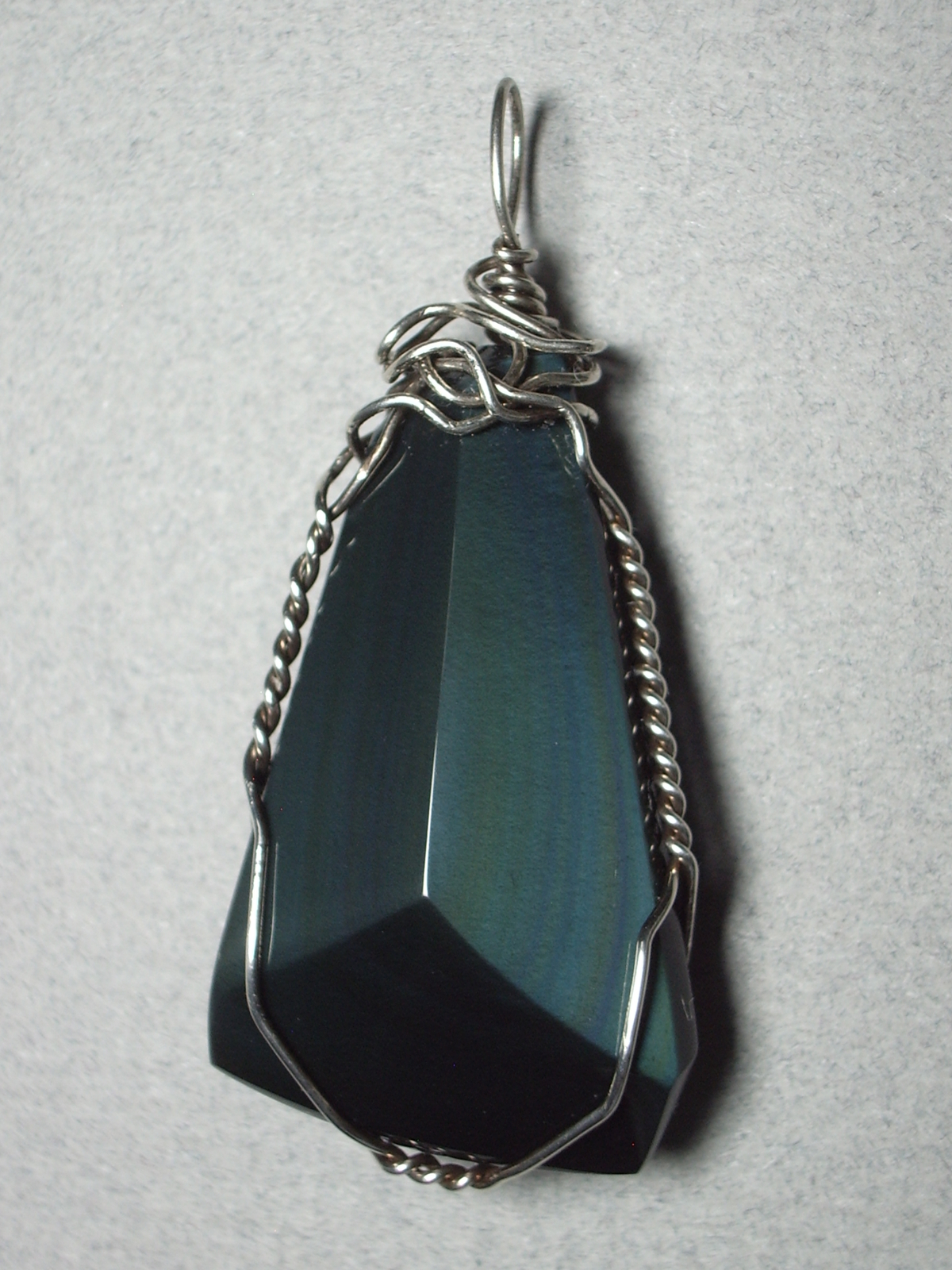 Primary image for .925 SS Wire Wrapped Rainbow Obsidian Pendant by Jemel