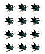 "Single Source Party Supplies - 2.5"" San Jose Sharks Cupcake Edible Icing... - $6.00"