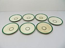 Wedgwood Edme cream soup saucers lot of 7 green décor RARE ! - $40.00