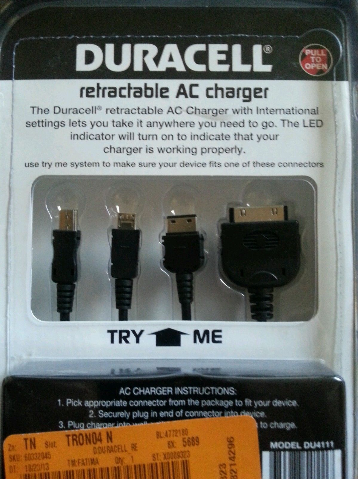 Duracell Retractable AC Charger for Mobile Devices - DU4111