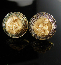 Chinese Export Cufflinks Vintage Religious Spiritual Buddhism Good luck silver j - $245.00
