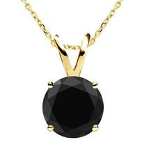 0.25 Carat Natural Black Diamond 4 Prong 14K Yellow Gold Solitaire Pendant Chain - $88.10