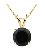 0.25 Carat Natural Black Diamond 4 Prong 14K Yellow Gold Solitaire Penda... - $88.10