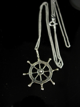"""Vintage Sterling Ship Wheel Necklace silver 20"""" chain Sailors Directiona... - $110.00"""