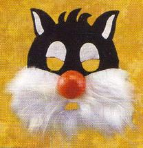 FURRY 3/4 CARTOON CAT MASK with RED LATEX NOSE - $6.00