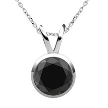 "0.25 Carat Diamond Black AAA Bezel Solitaire Pendant 18"" Chain 14K White Gold - $172.25"