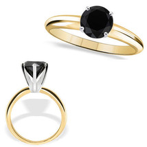 0.25 Carat Diamond Black AAA 4 Prong 14K Yellow Gold Solitaire Engagement Ring - £161.60 GBP