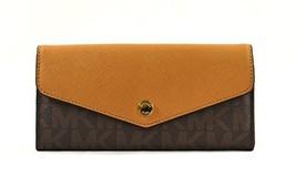 Michael Kors Greenwich Color Pocket Brown Signature Pattern Peanut Wallet - $140.58